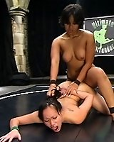 Tall red head gets her assed kicked, by smaller girl!